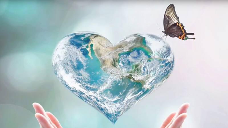 Heart-shaped Earth Illustration with Butterfly